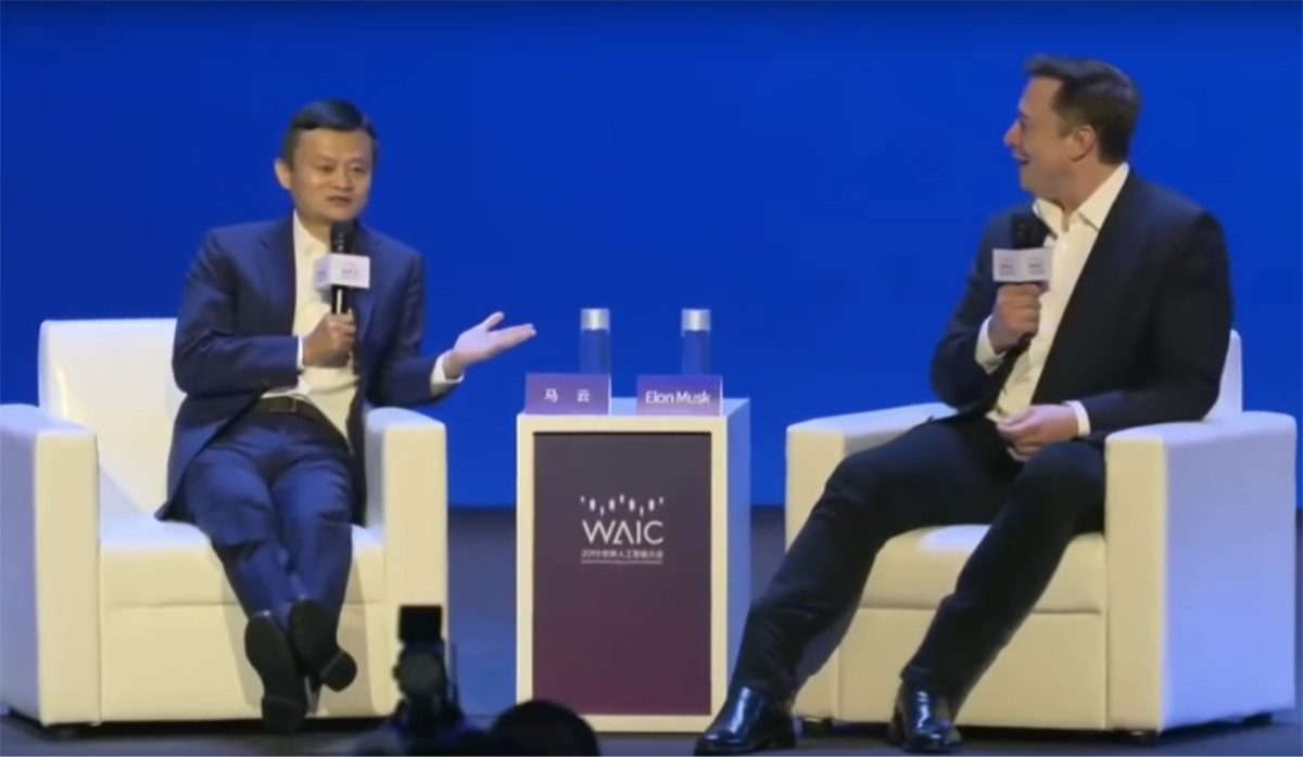 Billionaires Jack Ma vs. Elon Musk debate in Shanghai China at World Artificial Intelligence